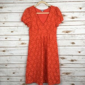 Anthro Leifnotes Orange Lace Midi Dress V-Neck